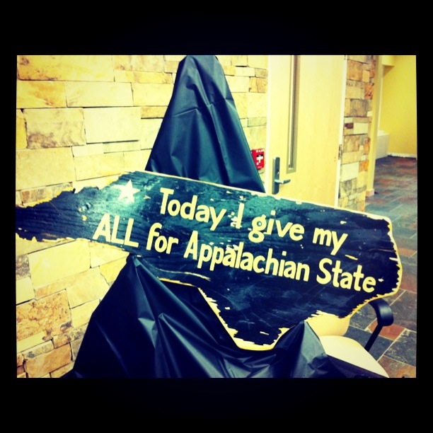 While in Boone, Corey and I attended a celebration for Appalachian Football.  The sign every Appalachian football player touches before walking out on Saturdays