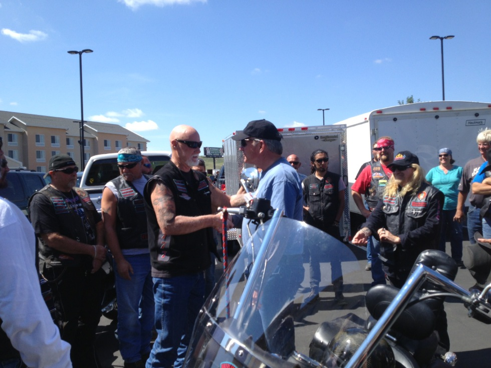Dad meeting with other members of Bikers for Chirst.