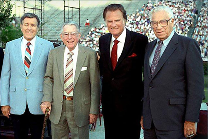 My grandfather (third from left) and his ministry team of (L-R) Cliff Barrows, Grady Wilson, and George Beverly Shea remained strongly rooted in Biblical principles long before and after the Modesto Manifesto was drafted.